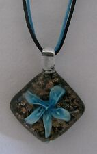 Art Glass Pendant Necklace FLOWER RHOMBUS Handmade Lampwork  Made in USA