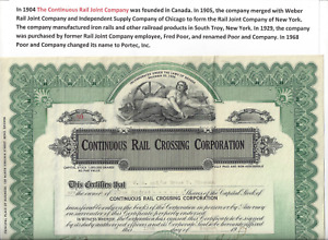 Stk Continuous Rail Crossing Corp. 1929 300 shares See Patent images Unusual