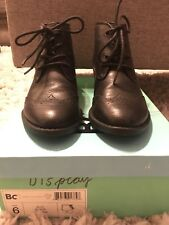 c4ad8073dce9a Bc Shoes Black Ally Lace Up Ankle Booties Oxford Style Vegan Leather Black  Sz 6