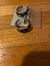New Guess Black Stud Silver Hoop Earrings