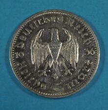 1936-g NAZI GERMANY 5 MARK COIN -  EAGLE & HINDENBURG - SILVER