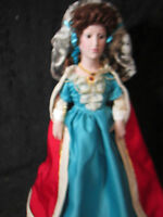 "Queen Mary II Franklin Mint Heirloom Doll 19"" Queens of England Series MIB Stand"
