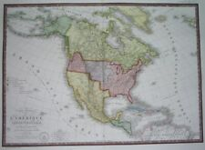 1828 RARE ORIGINAL MAP UNITED STATES TEXAS CALIFORNIA in MEXICO CANADA NEW YORK