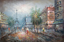 Oil Painting of Cityscape with Buildings and People near the Eiffel Tower 24*36""