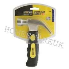 10OZ STUBBY CLAW HAMMER WITH MAGNETIC TIP SOFT RUBBER GRIP HANDLE DIY TOOL 12220
