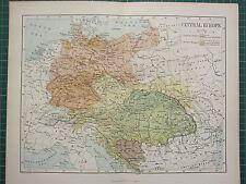 c1890 ANTIQUE MAP ~ CENTRAL EUROPE GERMAN & AUSTRIA EMPIRE BOSNIA HUNGARY