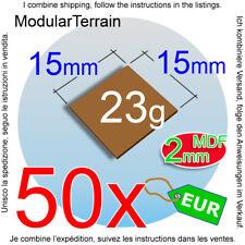 50x 15mm Square Base 2mm MDF Socle War Hammer 40k Age Of Sigmar