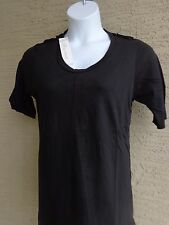 Being Casual Cotton Jersey Knit Top with Epaulettes & Scoop Neck L black