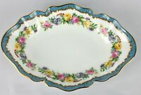 Crown Staffordshire Fine Bone China Floral, Blue Gold Trim Trinket Dish England