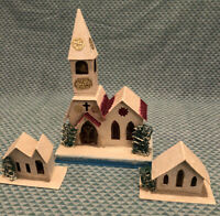 Vintage Village Setting Church/with Five Smaller Homes All Paper/Cardboard