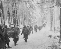 US Soldiers on snow covered road Battle of the Bulge 8x10 WWII WW2 Photo 505