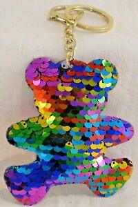 Sequin Padded Keyring Rainbow Teddy