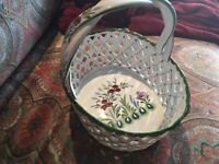 Vintage Portugal White/Green Porcelain Large Fruit Basket open pattern, Signed.