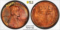 1957-P LINCOLN WHEAT PENNY CENT PCGS MS65RB TONED UNIQUE RAINBOW COLOR UNC (DR)