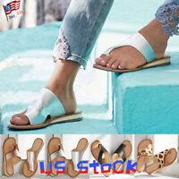 Summer Women's Shoes Toe Ring Slippers Beach Sandals Flip Flops Flats Slides US