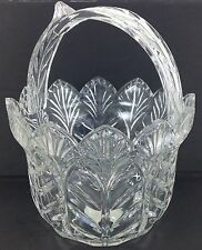 "FIFTH AVENUE CRYSTAL PORTICO GLASS BOWL BASKET 8"" TALL  POLAND"