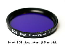 Schott BG3 49mm x 1.5mm thick UV Dual Bandpass Camera Filter, Ultraviolet UV IR