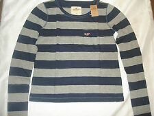NWT Hollister by Abercrombie womens seascape super soft shirt XS, S navy/gray