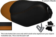 TAN & BLACK CUSTOM MADE FITS PEUGEOT LOOXOR 50 100 125 REAL LEATHER SEAT COVER