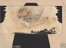 Original Japanese Anime Woodblock Ukiyoe Print w/Flying Spirit! c. Meiji Period