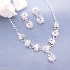 Crystal Necklace Set Bridal Wedding Bridesmaid Gift Jewelry Prom Silver Sp #16
