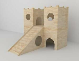 Rabbit 2-Tier House Wooden Castle Shelter Hideout Hideaway Hutch Small Animal Ex