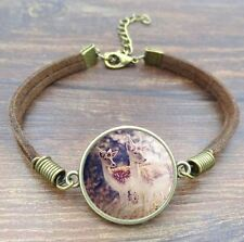 Live Deer Nature Round Pendant Cabochon Brown Leather Bracelet USA Shipper #25