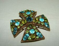 Vintage Maltese Cross Blue Green Citrine Rhinestones Pin Brooch