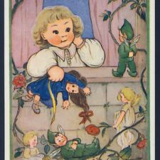 "MINT..! PIXIE,ELF,FAIRY ASKS LITTLE GIRL ""COME OUT AND PLAY"",PURSER,POSTCARD"