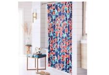 """New Threshold Windblown Floral Blue Orange Shower Curtain   72"""" x 72"""""""