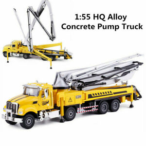 1:55 Alloy Diecast Concrete Pump Truck Yellow Toy Engineering Vehicle Model Gift