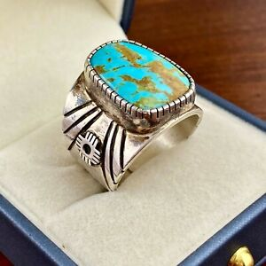 Ray Jack Men/'s Native American Turquoise Sterling Silver Ring Size 10 34 Made in the USA