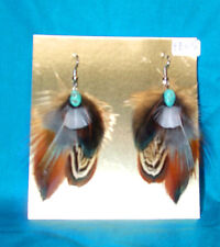 Pheasant Feather Earrings w Real Turquoise Stone Regalia FREE SHIPPING FE05