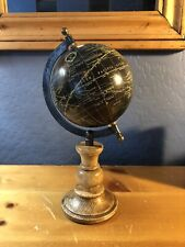 Vintage Nautical World Map Globe Table Top Wood Base Stand