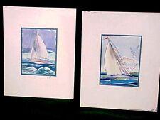 1936 Original Watercolor Painting by Sinclair Ross Seascape Nautical Sailboat