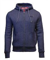 Superdry Mens New Orange Label Long Sleeved Full Zip Hoodie Navy Twill