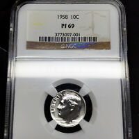 1958 PF69 Roosevelt Dime 10c Proof, NGC Graded PR69