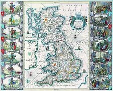 Poster - Vintage Style Map of Great Britain (Picture Print Earth Britannia Art)