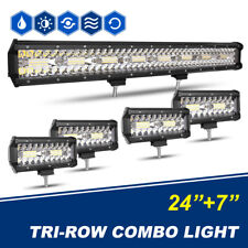 23 INCH Light Bar + 4PC 7 Inch LED Light Bars Flood Spot Combo FOR JEEP FORD SUV