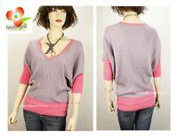 NW Uniquism Purple Pink V-Neck Dolman Knit Golf Sport Sweater Shirt Top S M L XL