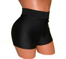 HIGH-WAISTED BLACK SOLID SHORTS POLE FITNESS DANCING FESTIVE PERFORMANCE WEAR
