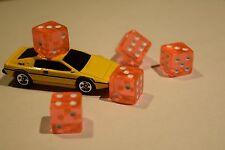 Orange 5 Transparent w/ White Pip Bunco Gaming Dice set 16mm D6 Yahtzee Quality