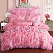 8PC. GIRLS NEW PINK PRINCESS QUEEN SIZE COTTON LACE BEDDING SET