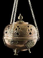 Grand Incensiere Brucia Incenso Tibetano Sospensione Rituale Buddista Rame 2552