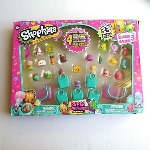 NEW Shopkins Season 3 Super Shopper Pack w/ 4 Exclusive Shopkins 33 Pieces 5+