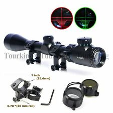 3-9X40 Red & Green Rifle Airgun Scope Scopes Telescopic Sight Illuminated Mounts