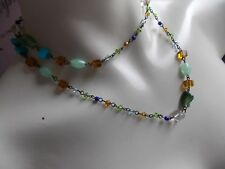 Lovely Eye Catching Blue & Green Resin Bead & Chain Necklace