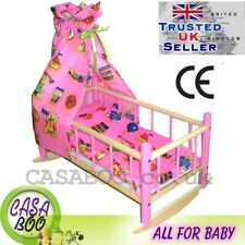 Wooden toy beds crib cot for dolls with bedding canopy girl's toy GIFT NEW