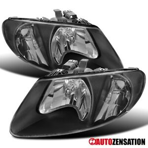 For 2001-2007 Dodge Caravan Chrysler Grand Voyager Black Headlights Lamps