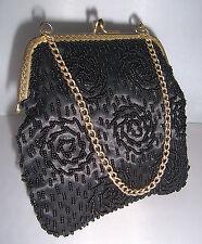 Belle Dainty original vintage années 1960 noir perle de verre Sac de soirée
